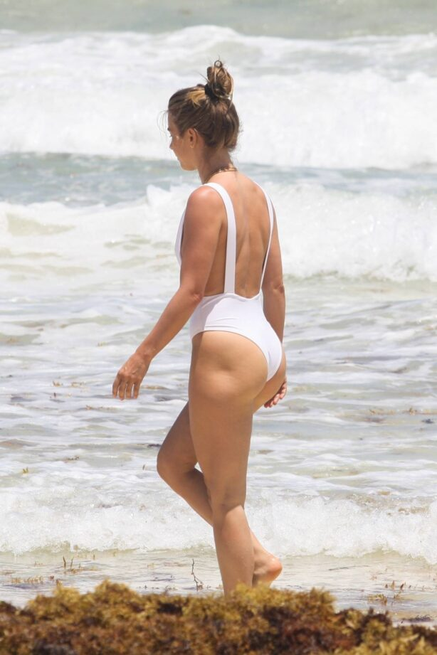 Julianne Hough - In white swimsuit on the beach in Tulum