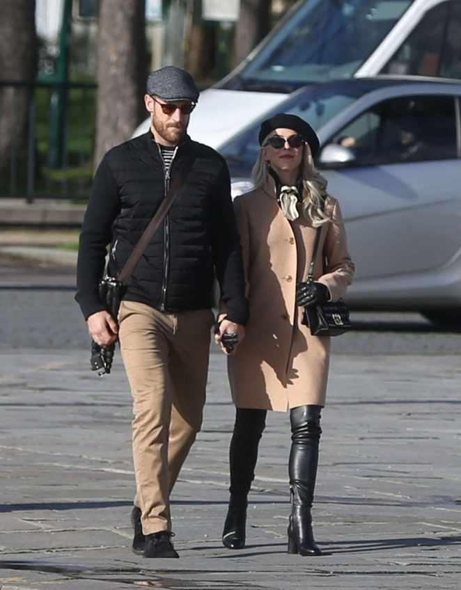 Julianne Hough with her husband out in Paris