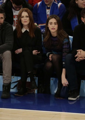 Julianne Moore and Emmy Rossum at the Knicks vs Clippers Game in NYC