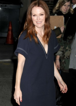 Julianne Moore - Arrives at The Late Show with Stephen Colbert in NYC