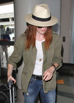 Julianne Moore in Jeans at LAX Airport in LA