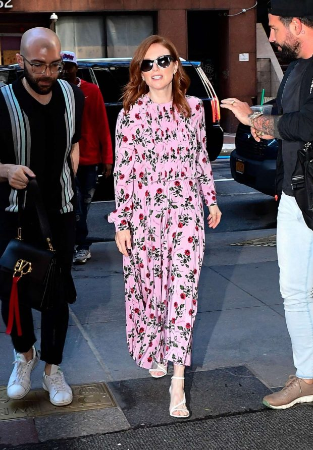 Julianne Moore in Floral Print Dress - Out in New York City