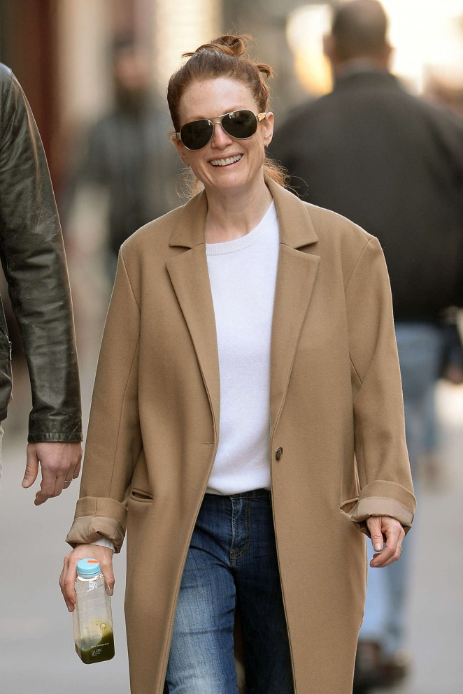 Julianne Moore in Long Coat and Jeans out in New York