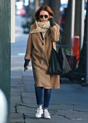 Julianne Moore in Long Coat out in New York