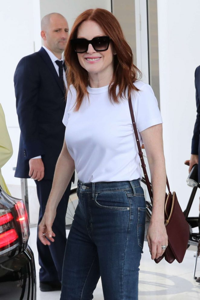 Julianne Moore - Leaves Hotel Martinez in Cannes