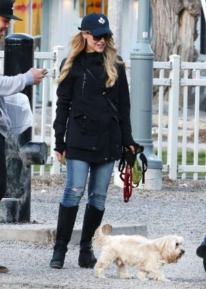 Julie Benz in Jeans at Dog Park in Toronto