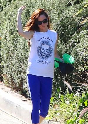 Juliette Lewis in Spandex walking in Los Angeles