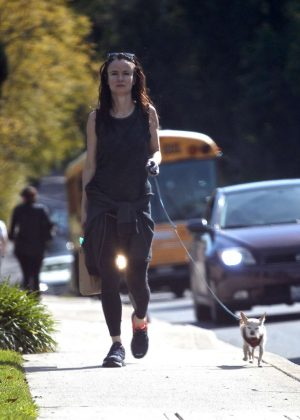 Juliette Lewis out with her dog in Brentwood