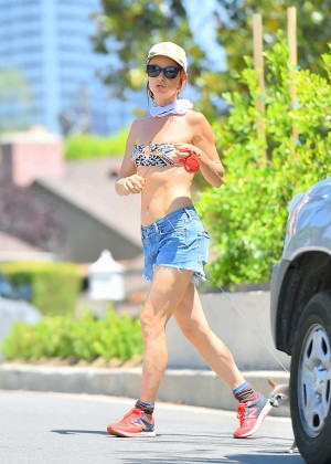 Juliette Lewis In Bikini Top Walking The Dog In Studio City