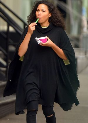 Jurnee Smollett-Bell in Black Outfit Out in New York