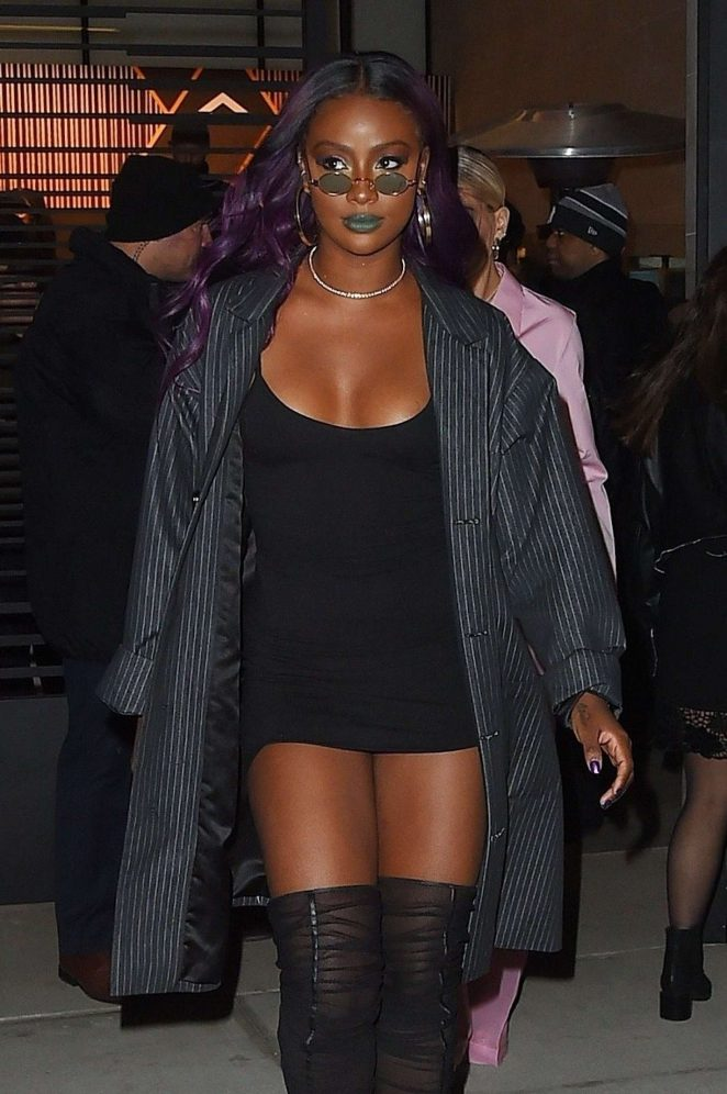 Justine Skye - Leaving the Republic Records Party in NYC
