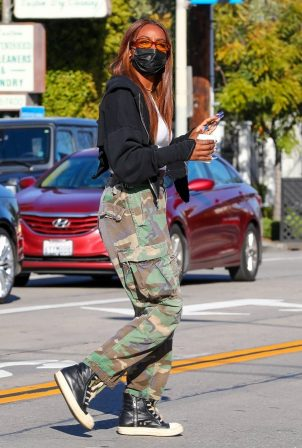 Justine Skye - Seen in camo pants at Verve Coffee Roasters in West Hollywood