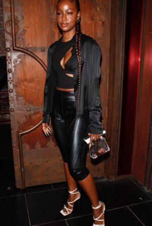 Justine Skye - Steps out for a romantic dinner date at TAO in Hollywood