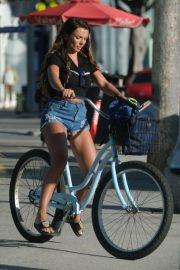 Kady McDermott in Jeans Shorts - Rides her bike in Venice Beach