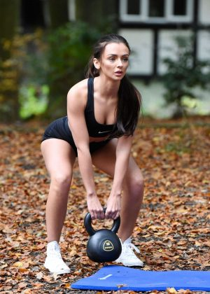 Kady McDermott in Shorts Working Out in Manchester