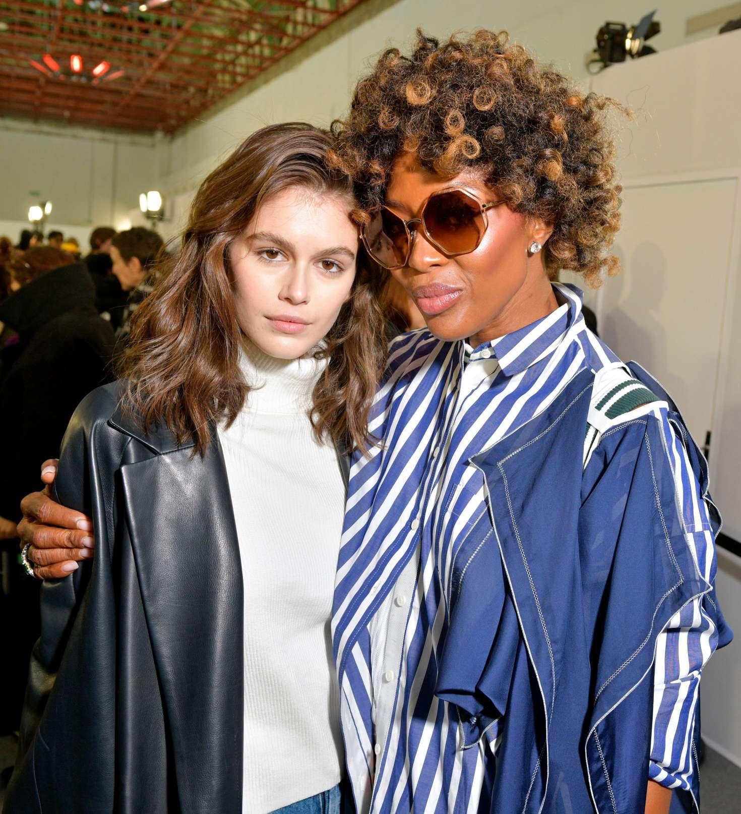 Kaia Gerber and Naomi Campbell - Backstage Sacai Fashion Show in Paris