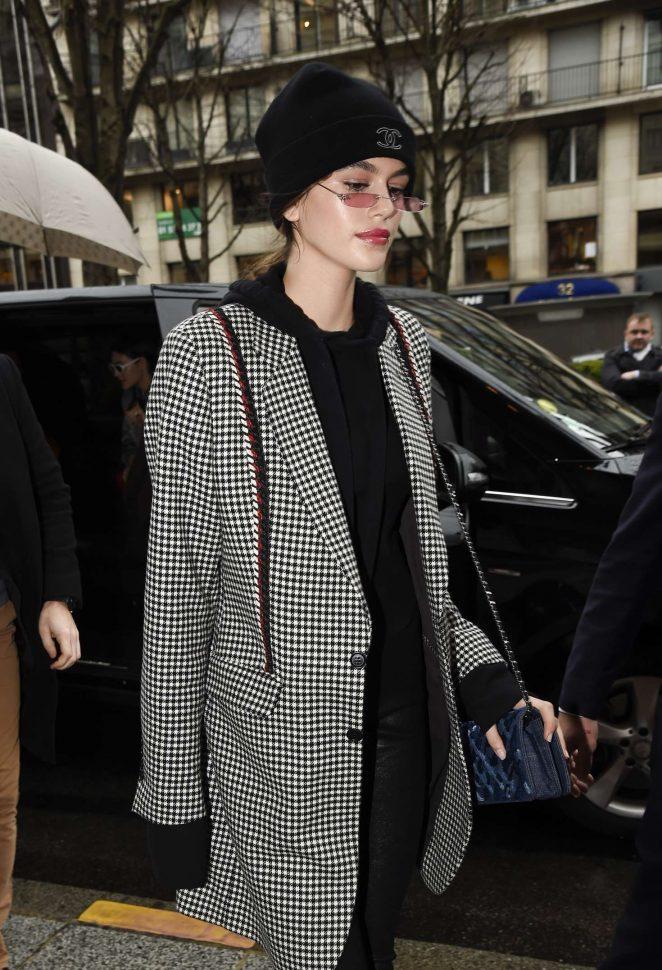 Kaia Gerber - Arrives at Georges V Hotel in Paris