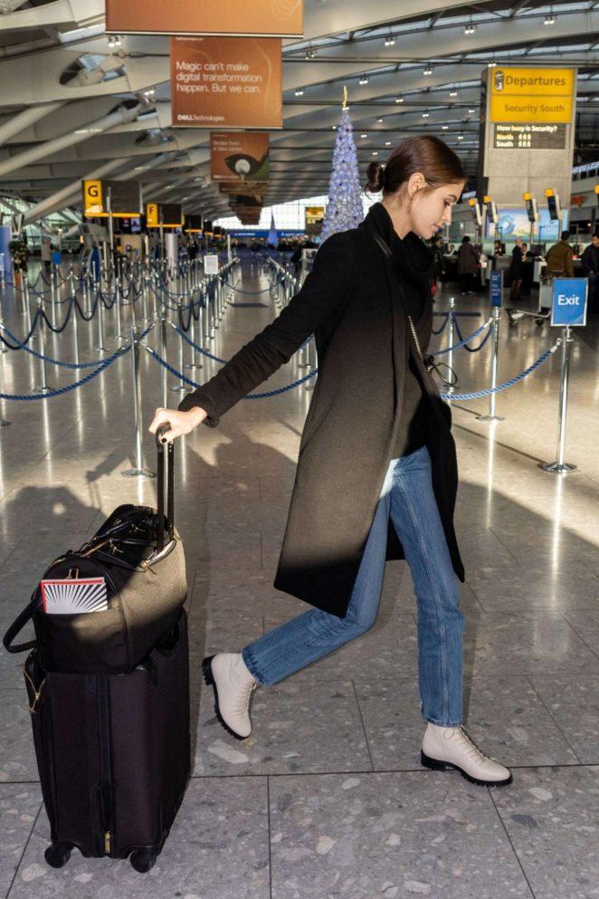 Kaia Gerber - Arrives at Heathrow Airport in London