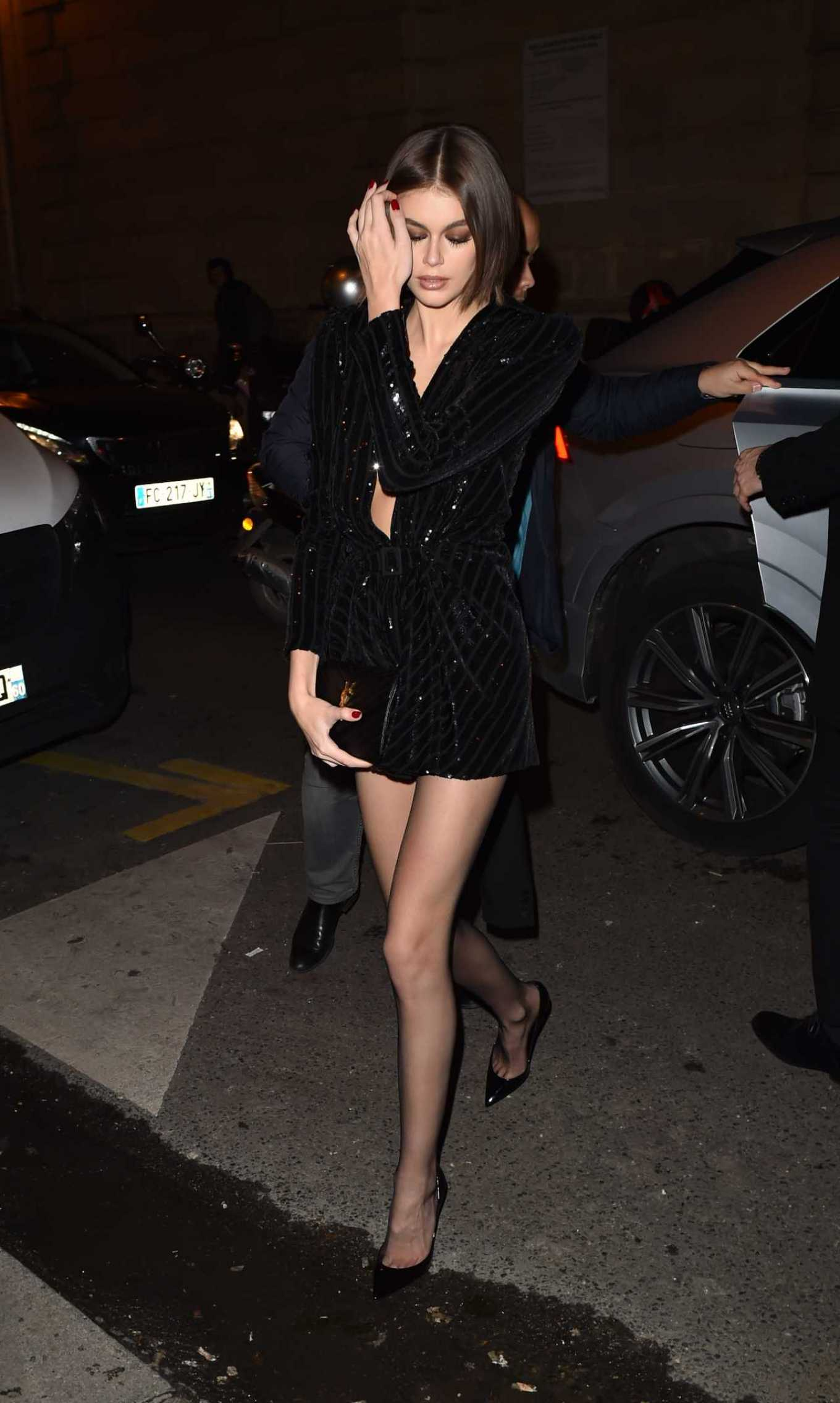 Kaia Gerber - Arrives at the YSL dinner party in Paris