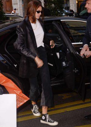 Kaia Gerber - Arriving at her hotel in Paris