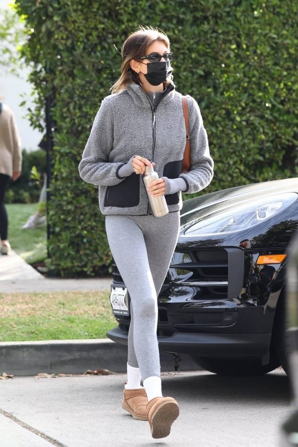 Kaia Gerber - Dons UGG Slippers as she exits a Pilates studio in Los Angeles
