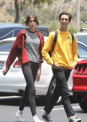 Kaia Gerber heads to CVS with a friend in Malibu