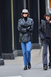 Kaia Gerber - In a leather jacket and a bucket hat in NYC