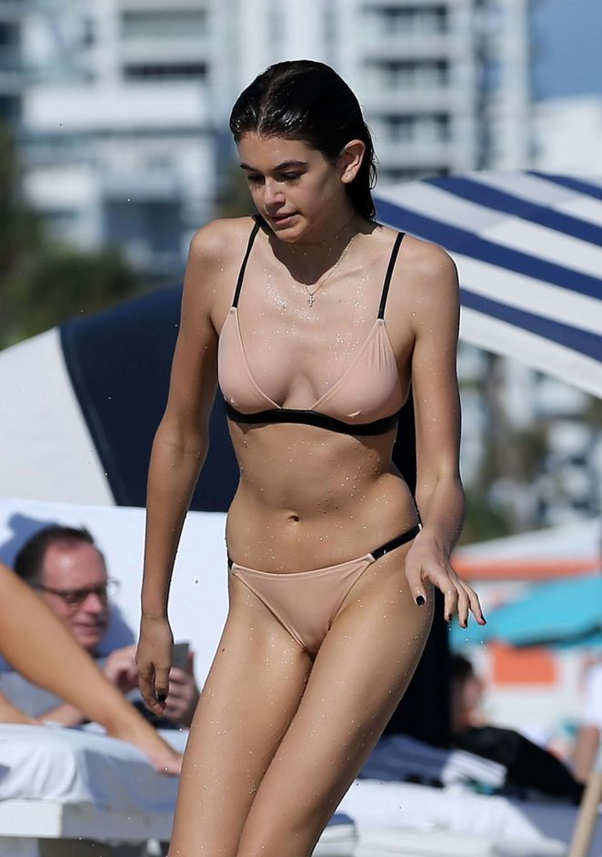 Kaia Gerber in Bikini on Miami Beach