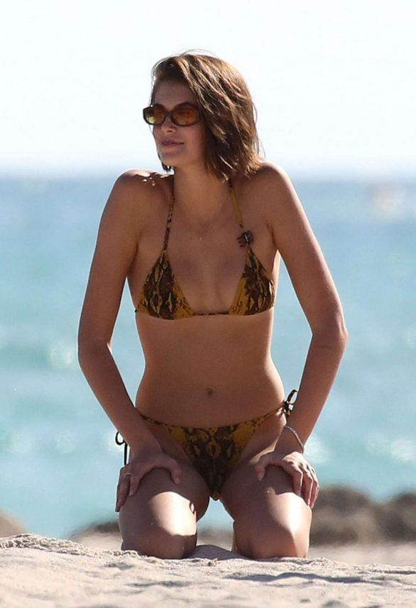 Kaia Gerber in Bikini on the beach in Miami