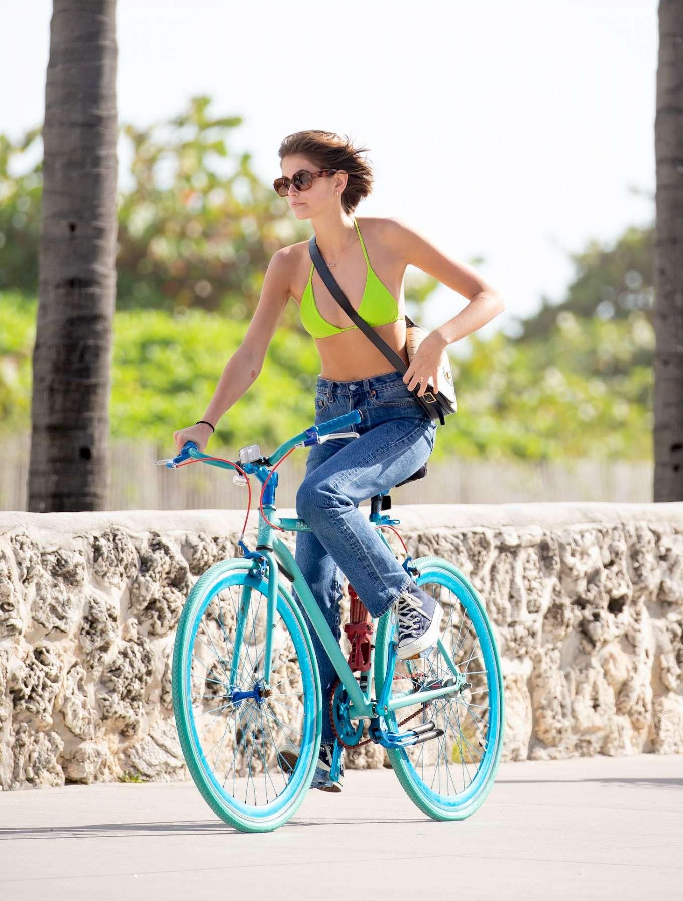 Kaia Gerber 2020 : Kaia Gerber in Bikini Top – Bike Riding in Miami-01