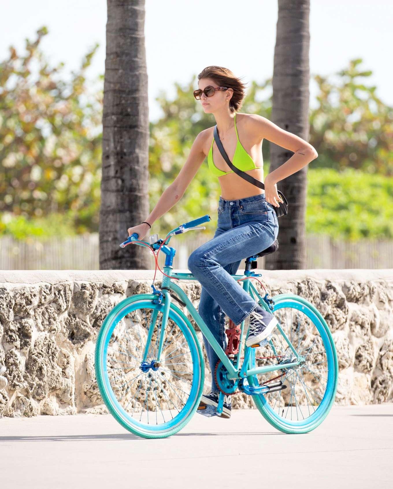 Kaia Gerber 2020 : Kaia Gerber in Bikini Top – Bike Riding in Miami-02