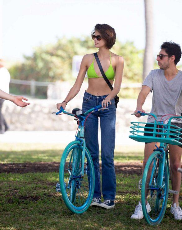 Kaia Gerber 2020 : Kaia Gerber in Bikini Top – Bike Riding in Miami-05