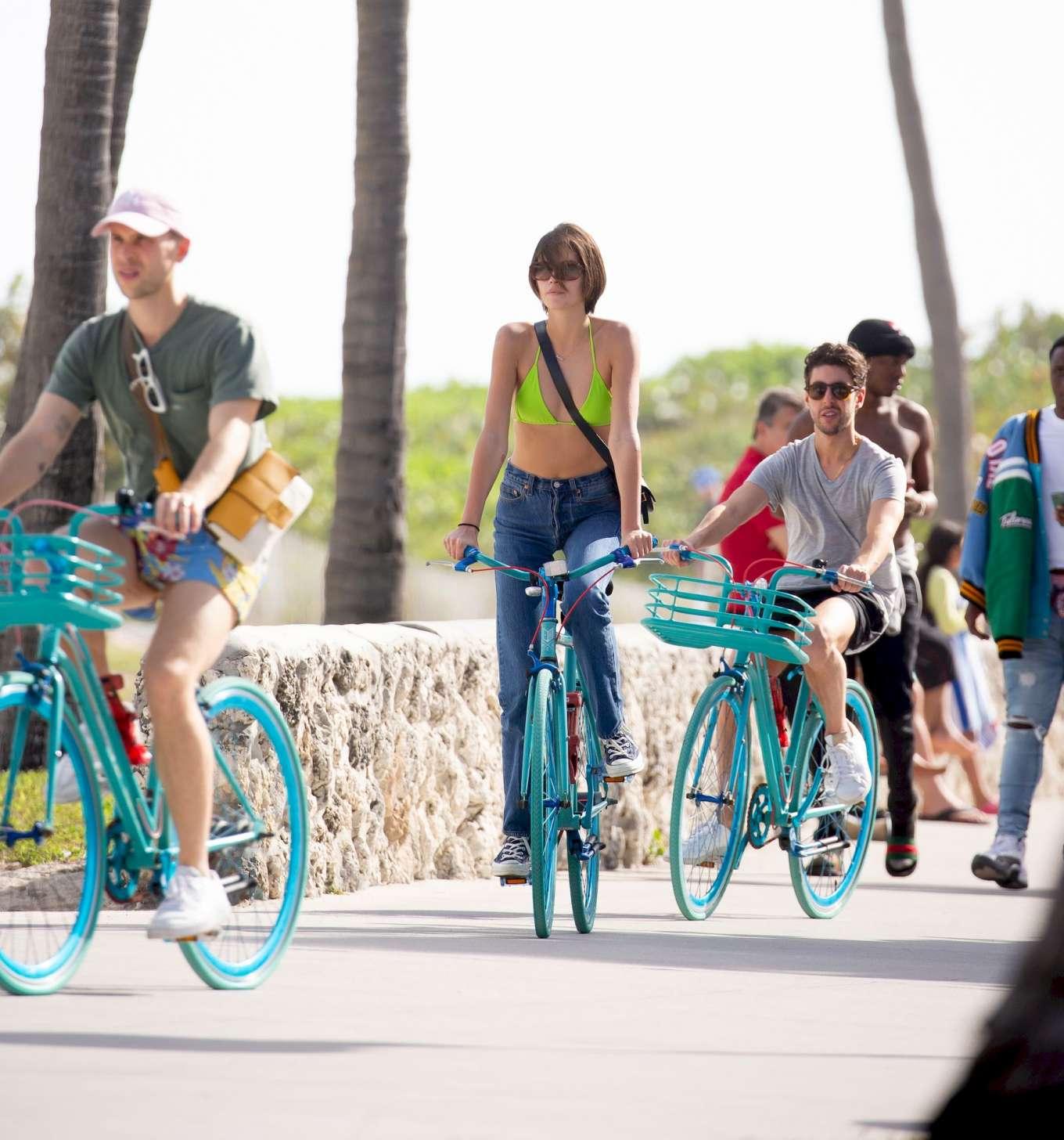 Kaia Gerber 2020 : Kaia Gerber in Bikini Top – Bike Riding in Miami-07
