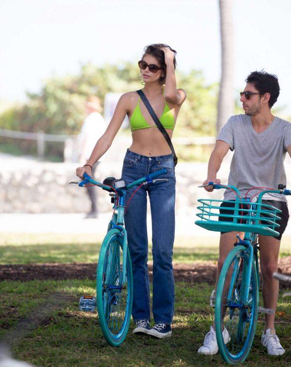Kaia Gerber 2020 : Kaia Gerber in Bikini Top – Bike Riding in Miami-09