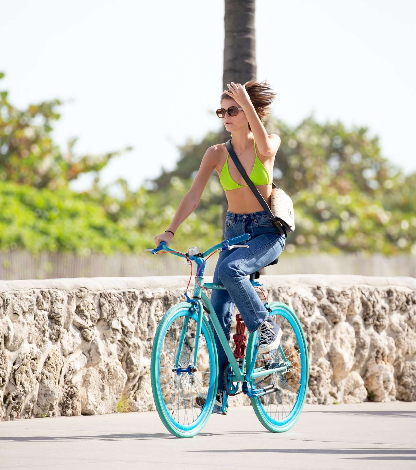 Kaia Gerber 2020 : Kaia Gerber in Bikini Top – Bike Riding in Miami-11