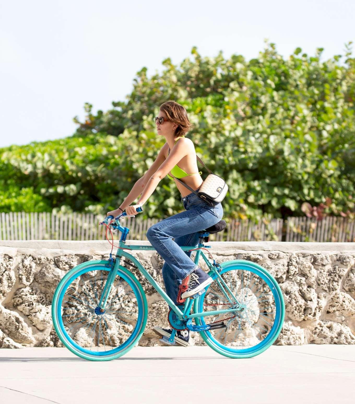 Kaia Gerber 2020 : Kaia Gerber in Bikini Top – Bike Riding in Miami-16