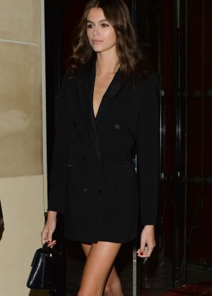 Kaia Gerber in Black Blazer - Out in Paris
