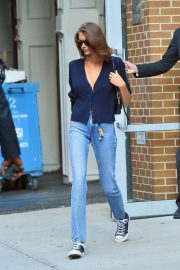 Kaia Gerber in Denim Pants - Out in NY