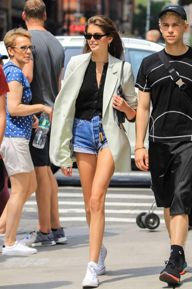 Kaia Gerber in Denim Shorts - Out and about in New York City