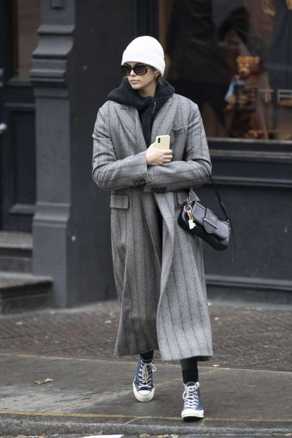 Kaia Gerber in Grey Long Coat - Out in NYC