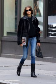 Kaia Gerber in Jeans and Leather Jacket - Out in NYC