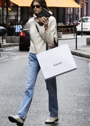 Kaia Gerber in Jeans - Out in Paris