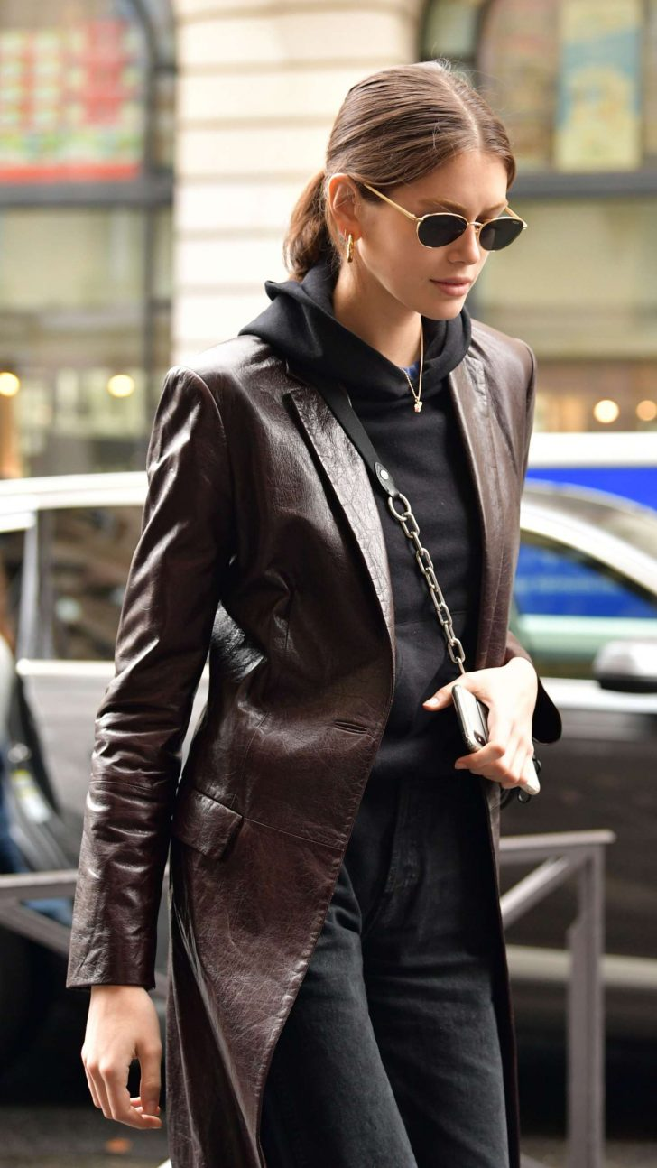Kaia Gerber in Leather Coat - Out in Paris