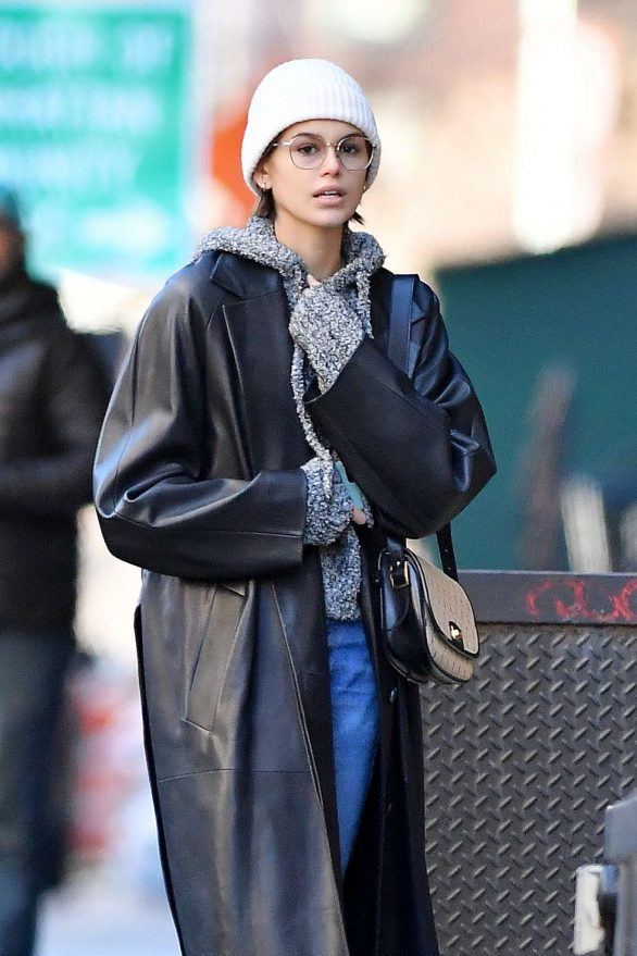 Kaia Gerber in Long Leather Coat - Out in New York City