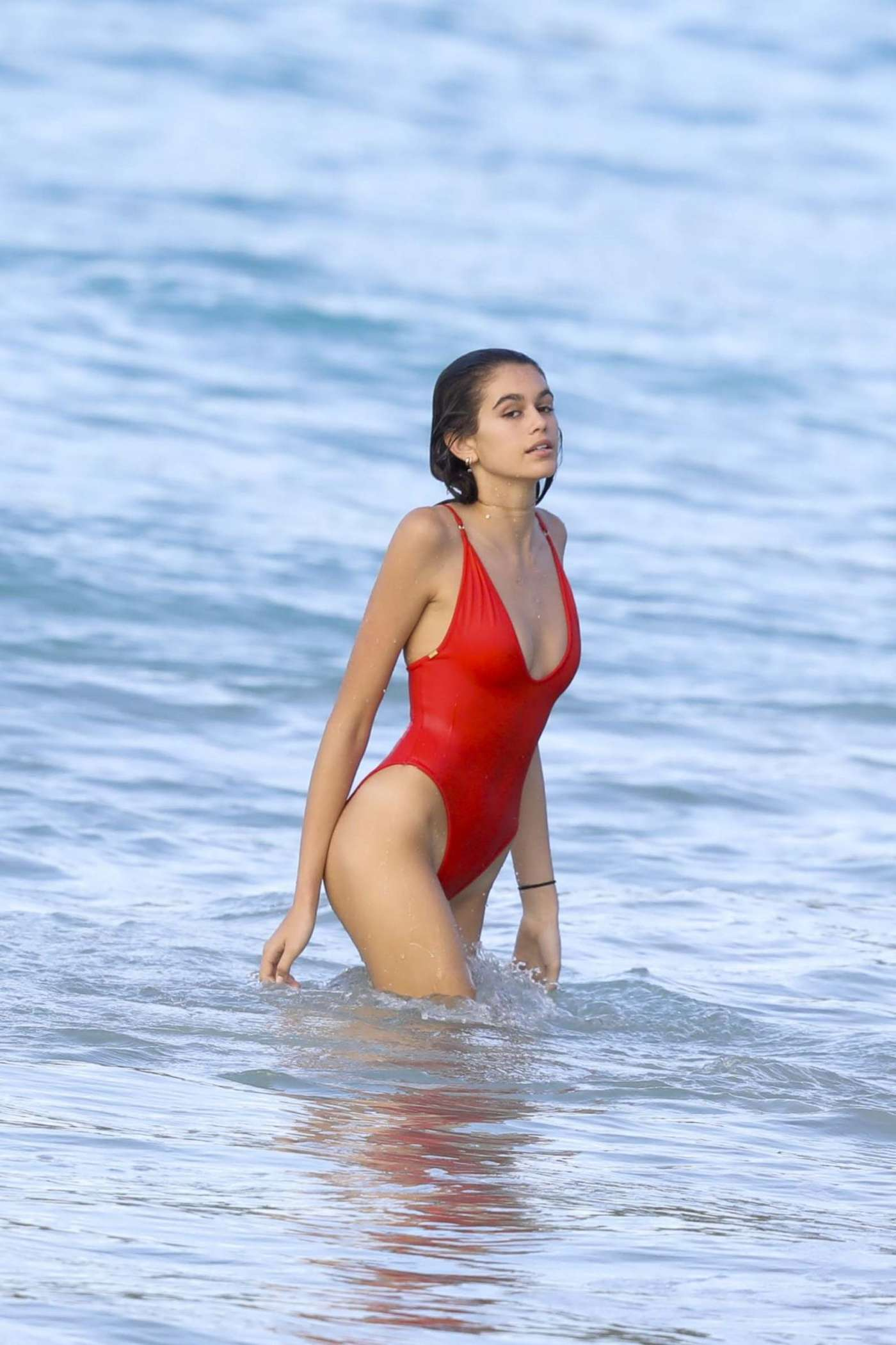Kaia Gerber in Red Swimsuit in St. Barts