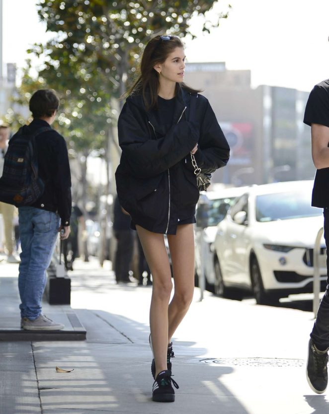 Kaia Gerber in Shorts - Leaving Tocaya Organica in West Hollywood
