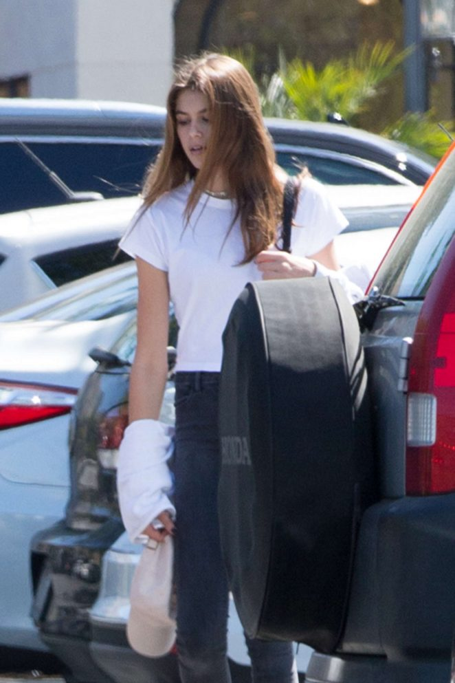 Kaia Gerber in Tights Out in Calabasas