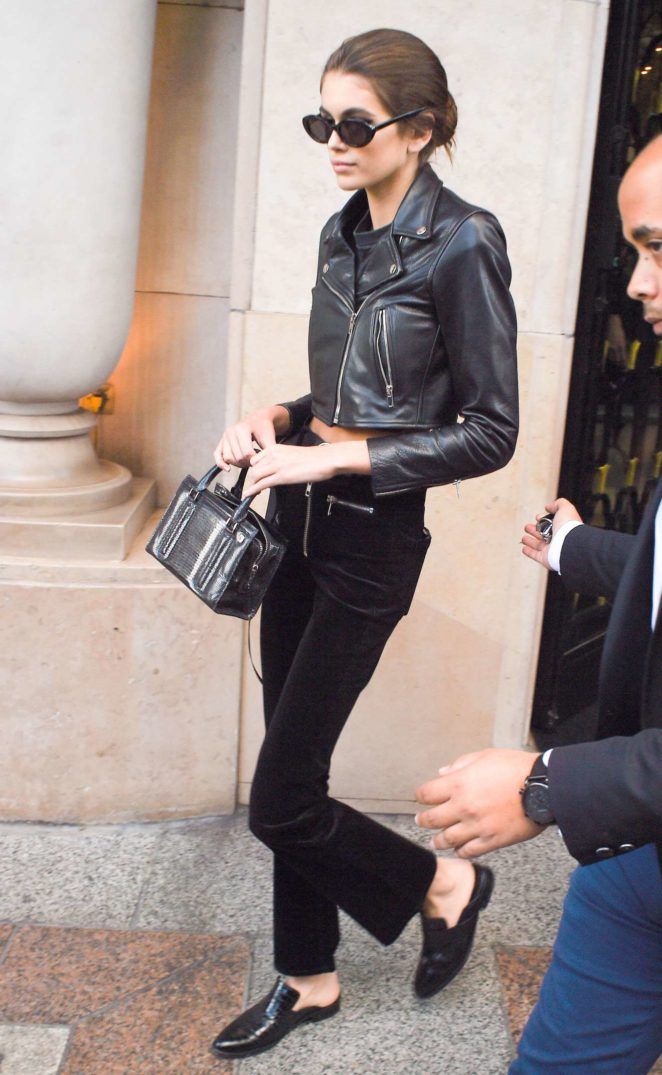 Kaia Gerber - Is Spotted in an all black outfit in Paris