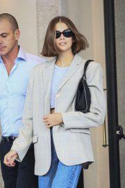 Kaia Gerber - Leaves her hotel in Milan