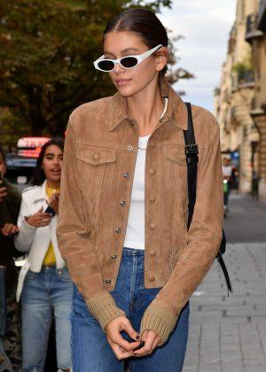 Kaia Gerber - Leaves her hotel in Paris